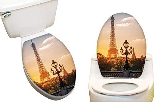 Home Toilet seat Sticker Street Lantern The Alex re Bridge Aga st The Eiffel Tower Paris Funny Toilet seat Home Vinyl Decal Sticker 6
