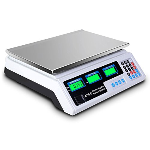 66LBS Max Weight LCD Display Digital Weight Scale Retail Outlets Food Market Supermarket Grocery Stores Post Office Logistics Price Computing Scale Waterproof Weighing Platform Stainless Steel Top (Digital Price Computing Scale Acs 30 Manual)