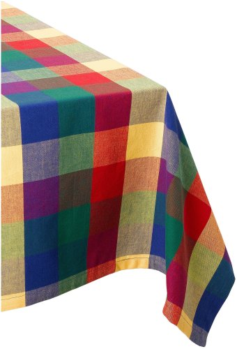"DII 100% Cotton, Machine Washable, Dinner, Summer & Picnic Tablecloth 52 x 52"", Summer Palette Check, Seats 4 People"