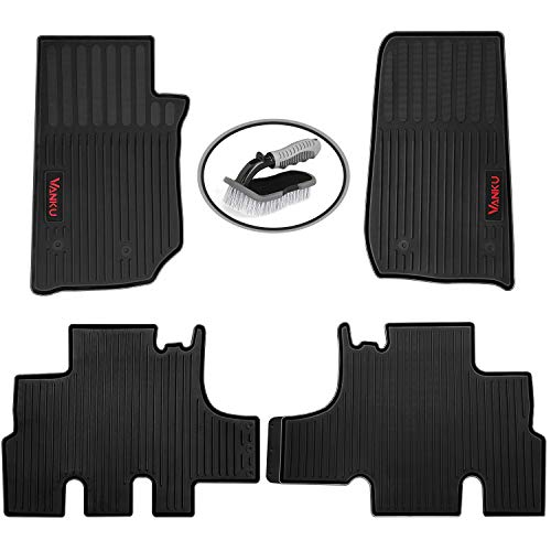 Vanku All Weather Car Floor Mats Fit Jeep Wrangler 4-Door 2010-2017,Full Set 4 Pieces Heavy Duty Truck Mats,Free Brush ()