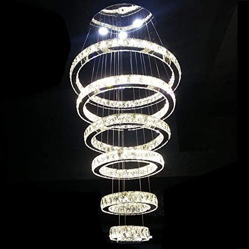 Bagood Modern Contemporary Large Crystal Circle 6 Rings Chandelier Adjustable Stainless Steel Luxury Suspension LED Dimmable Ceiling Lamp Fixtures D20 30 40 50 60 70CM