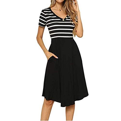 Pervobs Women's Summer Dress Short Sleeve V Neck Vintage Patchwork Pinstripes Puffy Swing Casual Party Dress Vestido(US:8, Black)