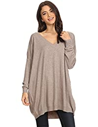 Womens Basic Oversized V-Neck Sweater Pullover Tunic Top
