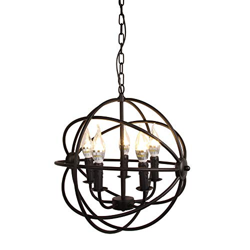 Modern Industrial Chandelier 5 Light Metal Globe Chandelier ...