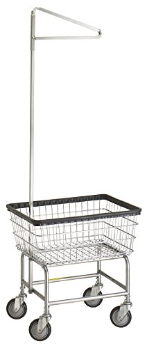 R&B Wire 100D91 Narrow Wire Frame Metal Laundry Cart with Single Pole Rack - - Carts R&b Laundry