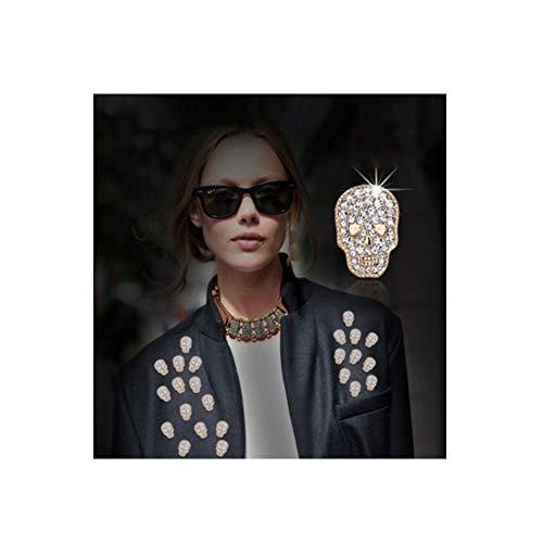 - JczR.Y Retro Rhinestone Skull Brooch Pins Vintage Punk Gothic Rock Skeleton Head Brooch Enamel Lapel Pins for Women Girls Fashion Jewelry Gift (Gold)