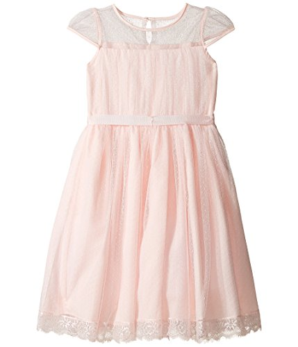 US Angels Big Girls' Illusion Neckline with Ribbon Tie, Blush, 7 by US Angels