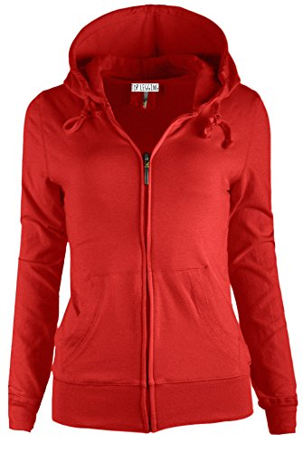 TOP LEGGING TL Women's Knit Stretch Zipper Solid Casual Zip-Up Hoodie Jackets In Colors SJ4001 Red S (Sweatshirt Red Zipper)