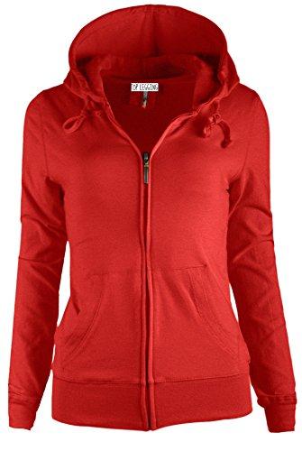 TOP LEGGING TL Women's Knit Stretch Zipper Solid Casual Zip-Up Hoodie Jackets In Colors SJ4001 Red S (Sweatshirt Zipper Red)