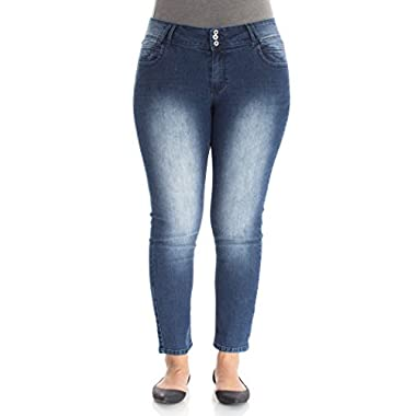 Angels Jeans Juniors Plus Size Triple Button Long Inseam Skinny Jeans in Uma Size: 24