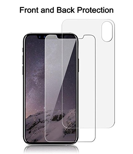 iPhone X Front Back Screen Protector, Singularity Products iPhone X Tempered Glass Screen Protector [3D Touch] Anti Glare Front + Rear Glass Protector Anti Fingerprint for iPhoneX /10