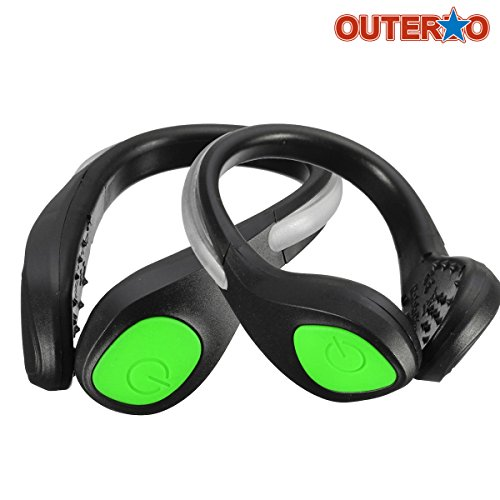 OUTERDO 1 Pair LED Luminous Outdoor Sport Flashing Safety Warning Lights Shoe Clip Reflective Lights For Runners Joggers Walkers Biker Black green light