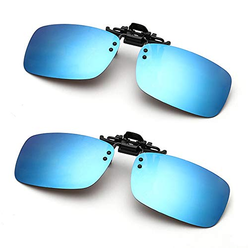 Clip on Sunglasses Unisex Polarized Frameless Rectangle Lens Flip up Clip on Prescription Sunglasses Eyeglass(Double ()