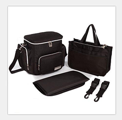 Knuddelstuff Stylish 'Winslow' SMALL Toddler Travel Designer Diaper Bag - Stroller Clips - Insulated Pocket - Nappy Changing Handbag, Black...