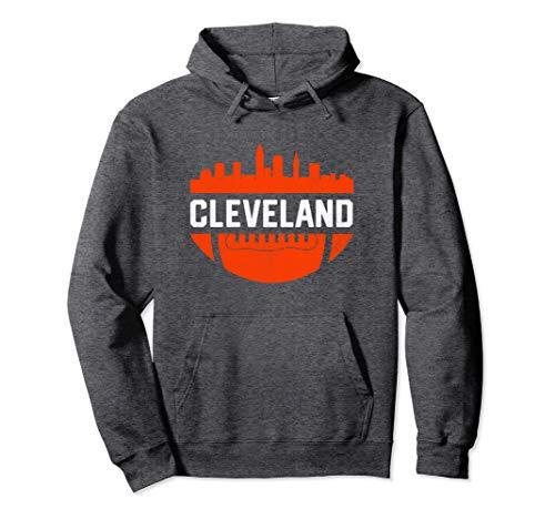 - Vintage Downtown Cleveland Ohio Skyline Football Hoodie