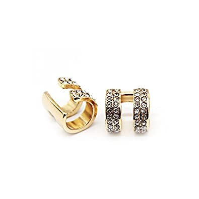 Buy Market Yard Golden And Silver Crystal Clip Earrings Without Ear