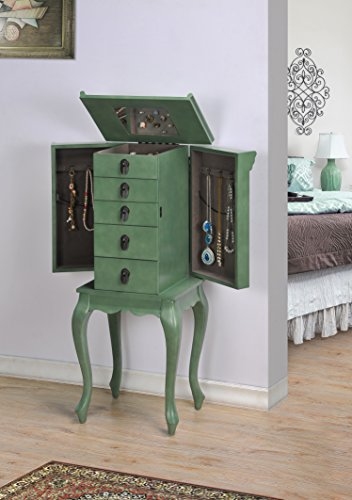 Grace - Asian style 4 Drawers Jewelry Armoire - Sea Green - 2 Door Painted Armoire