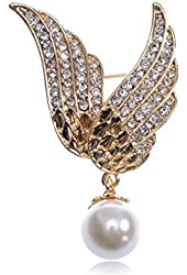 Golden Tone Glittering Crystal Rhinestone Flying Wings Faux Pearl Pin Brooch
