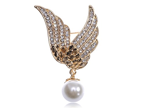 Dangling Crystal Brooch (Alilang Gold Tone Crystal Rhinestone Flying Angel Wings with Dangling Faux Pearl Pin Brooch)