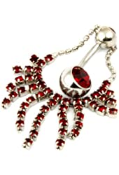 Surgical Stainless Steel Belly Ring W/Red CZ Gem & Stones