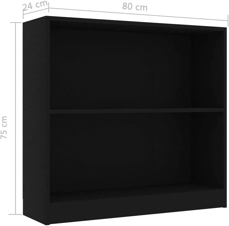Tidyard 2 Tier Bookshelf   Bookcase for Living Room Bedroom   Chipboard Storage Cabinet Organizer Unit Grey 80x24x75 cm Black