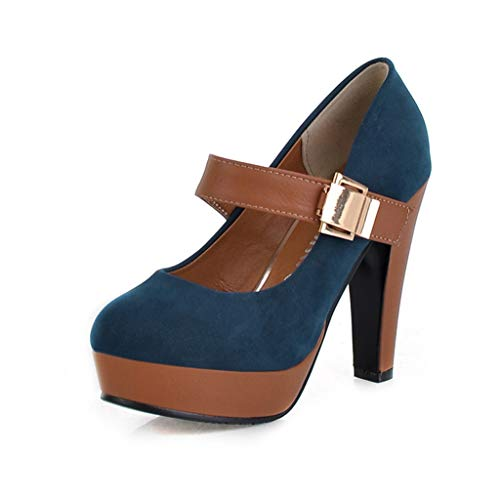 (WEUIE Womens Mary Jane Dress Pumps - Vintage High Heels Round Toe Platform Shoes with Ankle Strap)