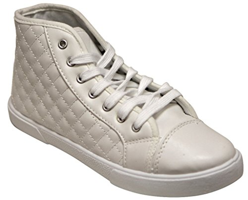 Sport White Patent Leather (Qupid Reeve-01 fashion comfort sport metallic vamp lace up patent leather high top quilted sneakers White 7)