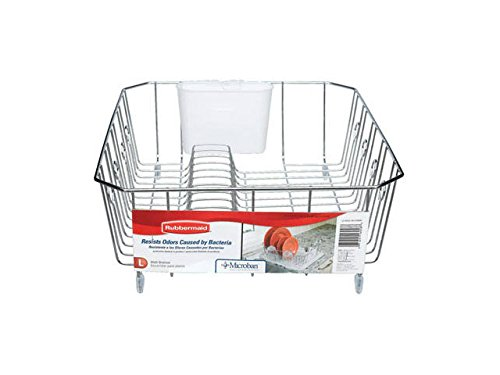 Antimicrobial Sink (Rubbermaid AntiMicrobial In-Sink Dish Drainer With Silverware Cup, Chrome, Large (FG6032ARCHROM))