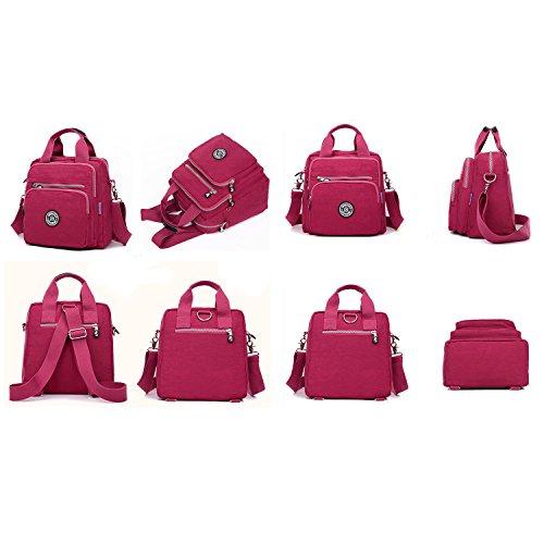 MeCooler Bolso Bandolera Impermeable Moda Bolsos Mujer Casual Mochilas Escolares Ligero Bolsas de Viaje Bolsos Escuela Sport Bag para Tablet Rojo 3