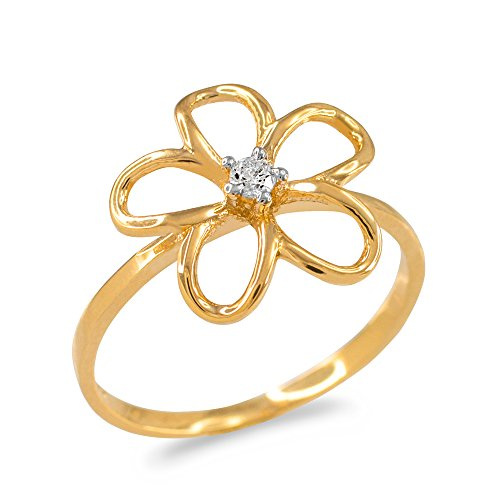 - Diamond Solitaire Hawaiian Plumeria Flower Ring in 10k Yellow Gold (Size 10)