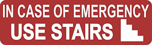 - 10x3 in Case of Emergency Use Stairs Sticker Vinyl Business Elevator Fire Sign