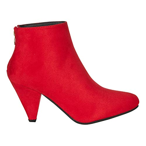 Women's Microsuede Ankle Boots Size 7 with Cone Heel Zipper Mid-Calf Fashion Shoes Red -