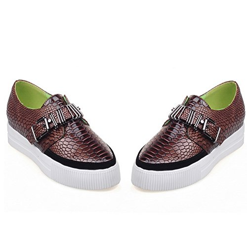 Platform Loafers Shoes Snakeskin UK Buckle Womens Cobra 1TO9 Brown 5 4 MMS03278 xSYUZwq