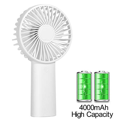 TianNorth Mini Handheld Fan Portable Cooling Fan with 4000mAh Battery,Battery Operated Fan with 3 Speeds for Picnic, Hiking, Climbing, Playground, Traveling