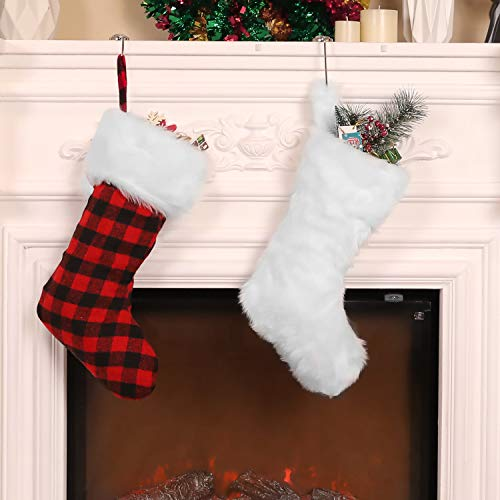 Jovitec 20 Inch Christmas Stockings Fireplace Hanging Stockings White Cozy Faux Fur Stocking Red Black Plaid Stocking for Christmas Decoration, 2 Pieces