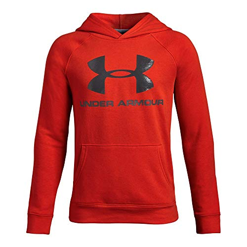 Hooded Basketball (Under Armour Boys Rival Logo Hoodie, Radio Red (891)/Charcoal, Youth Medium)