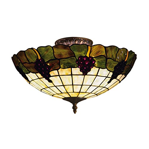 Alumbrada Collection Grapevine 3 Light Semi Flush In Vintage Antique With Stained -