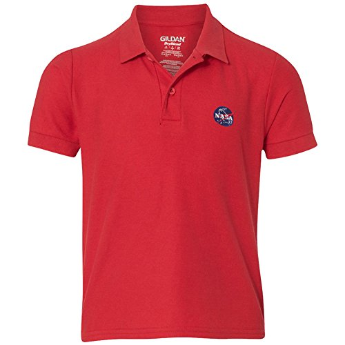 - Youth NASA Insignia Embroidered Double Pique Polo Shirt - Red - XL