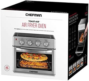 Chefman Air Fryer Toaster Oven, 6 Slice, 26 QT Convection AirFryer w/ Auto Shut-Off, 60 Min Timer; Roast, Bake, Fry Oil-Free, Nonstick Interior, Accessories & Cookbook Included, Stainless Steel/Black