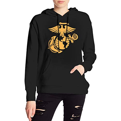 - Eagle Globe and Anchor Women's Long Sleeve Pullover Hooded Sweatshirt with Pocket Black
