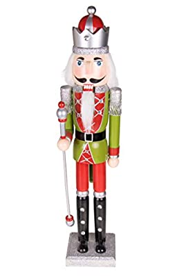 "Traditional Wooden Royal King Nutcracker by Clever Creations | Green Uniform and Red Scepter | Festive Christmas Decor | 22"" Tall Perfect for Shelves and Tables 