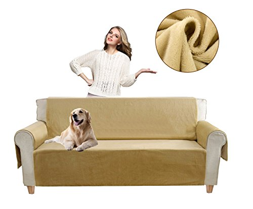p Pet Dog Sofa Covers Protectors Water-Repellent Recliner Couch Slipcovers with Pockets (Sofa, Beige) (Beige Fabric Cushion)