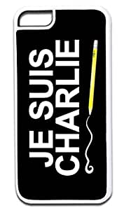 LINMM58281JE SUIS CHARLIE-TYPOGRAPHY-Case for the APPLE iphone 5/5s ONLY-Hard WHITE Plastic Outer CaseMEIMEI