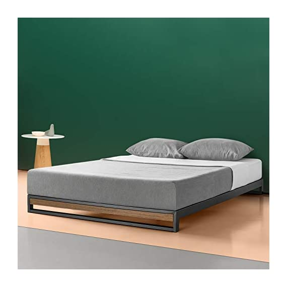 ZINUS GOOD DESIGN Award Winner Suzanne 6 Inch Metal and Wood Platforma Bed Frame / No Box Spring Needed / Wood Slat Suport, Brown, Queen - 6 inch high strong, low profile steel frame structure with wood slat support for mattress longevity Wood panel footboard detail Easily assembles in minutes - bedroom-furniture, bedroom, bed-frames - 41sd94RQZVL. SS570  -