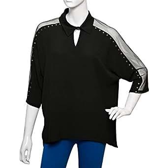 Parkhande Black Polyester V Neck Blouse For Women