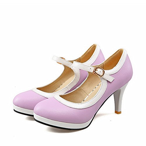 Heels Shoes Purple High Closed Materials Women's Pumps Color WeenFashion Round Assorted Blend Toe wHE67P
