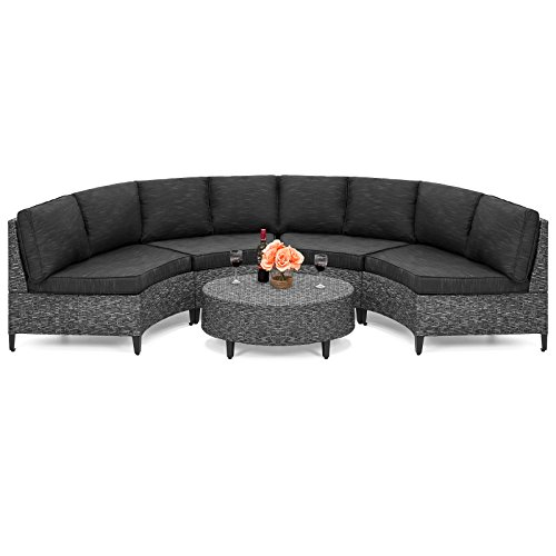 Best Choice Products 5-Piece Wicker Half Circle Sectional Sofa Set (Gray) (Outdoor Round Sectional Furniture)