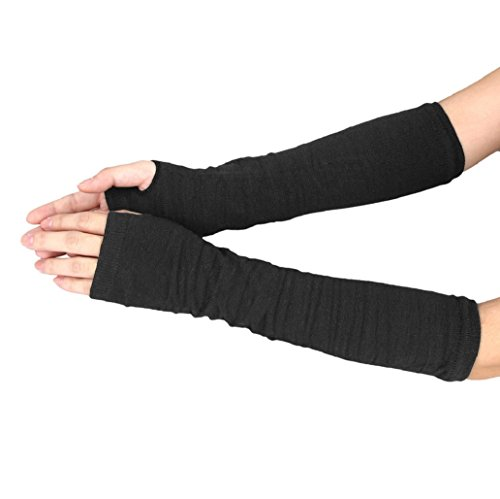 st Arm Hand Warmer Knitted Long Fingerless Gloves (Black) (Knitted Wrist Warmers)