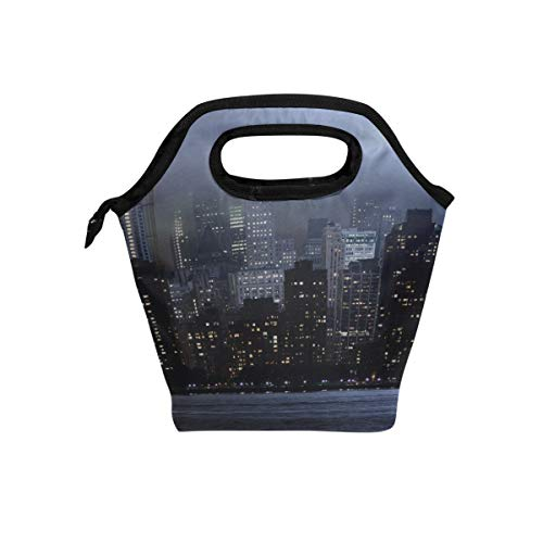 Your Home World Trade Center New York Memorial Lights Skyscrapers Rays Lunch Tote Bag Insulated Cooler Thermal Reusable Bag Lunch Box Portable Handbag