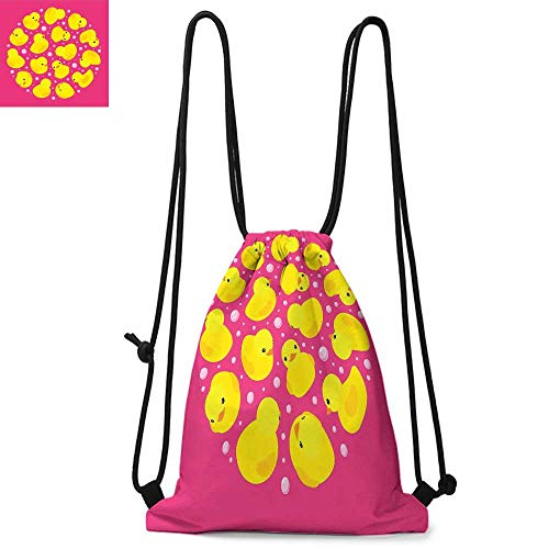 Antoinette Bath - Rubber Duck Drawstring backpack series Fun Baby Duckies Circle Artsy Pattern Kids Bath Toys Bubbles Animal Print Convenient choice for daily activities W13.4 x L8.3 Inch Pink and Yellow